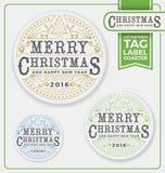 Etichette di Buon Natale, etichetta, progettazione dello scritto tipografico del sottobicchiere Immagine Stock Libera da Diritti