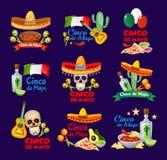 Etichette di Cinco de Mayo con alimento e il decoratio messicani tradizionali illustrazione vettoriale