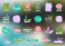 Etichette di cura di salute e di bellezza di vettore La stazione termale, yoga si concentra i distintivi Segni di benessere Etich Immagini Stock Libere da Diritti