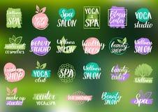 Etichette di cura di salute e di bellezza di vettore La stazione termale, yoga si concentra i distintivi Segni di benessere Etich Fotografia Stock