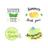 Etichette di estate, logos, etichette disegnate a mano ed insieme di elementi per la vacanza estiva, viaggio, vacanza della spiag illustrazione di stock