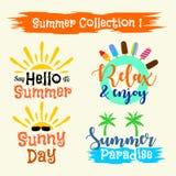 Etichette di estate, logos, illustrazione disegnata a mano illustrazione di stock