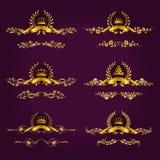 Etichette di lusso dell'oro con la corona dell'alloro Immagini Stock Libere da Diritti