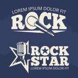Etichette di musica del rock star sul contesto di lerciume Immagini Stock Libere da Diritti