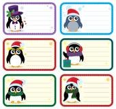 Etichette di Natale con il tema 1 dei pinguini Immagini Stock