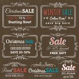 Etichette di Natale con l'offerta di vendita Fotografie Stock Libere da Diritti