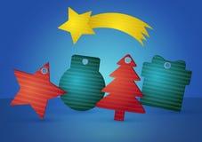 Etichette di prezzi delle decorazioni di Natale Fotografie Stock Libere da Diritti
