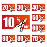 Etichette di prezzo di sconto Immagine Stock