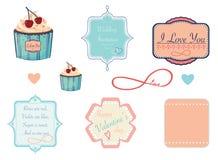 Etichette di progettazione sul tema di amore, del biglietto di S. Valentino o di nozze Immagine Stock