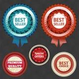 Etichette di scelta e del best-seller con il nastro Immagine Stock