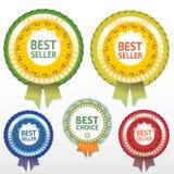 Etichette di scelta e del best-seller con il nastro Fotografia Stock