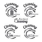 Etichette di servizio di pulizia Immagini Stock