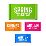 Etichette di tendenze della primavera, di estate, di autunno e di inverno Fotografia Stock Libera da Diritti