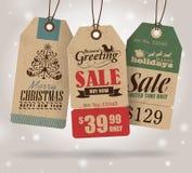 Etichette di vendita di Natale Fotografie Stock Libere da Diritti