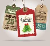 Etichette di vendita di Natale Fotografia Stock Libera da Diritti