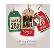Etichette di vendita di tema di Natale Fotografia Stock