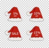 Etichette di vendita di Natale di vettore, sconti differenti, Santa e cappelli rossi di Elf, elementi decorativi royalty illustrazione gratis