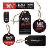 Etichette di vendite di Black Friday messe Immagine Stock Libera da Diritti