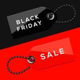 Etichette di vendite di Black Friday Fotografia Stock