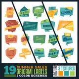 Etichette di vendite di estate di origami Immagini Stock Libere da Diritti