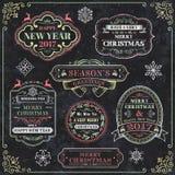 Etichette di vettore della lavagna di Natale royalty illustrazione gratis