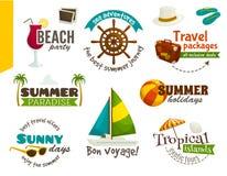 Etichette di viaggio, emblemi di estate, illustrazione di vettore del fumetto Fotografie Stock Libere da Diritti