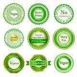 Etichette, distintivi ed autoadesivi organici Fotografie Stock Libere da Diritti