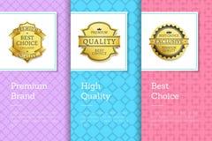Etichette dorate Choice di alta qualità di marca premio Fotografia Stock