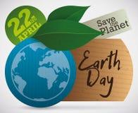 Etichette e foglie di Eco per la celebrazione di giornata per la Terra, illustrazione di vettore Fotografia Stock