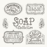 Etichette e modelli disegnati a mano per le barre fatte a mano del sapone Immagini Stock
