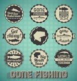 Etichette ed icone da pesca andate Immagini Stock Libere da Diritti
