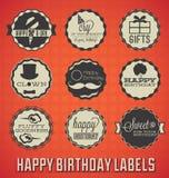 Etichette ed icone di buon compleanno Fotografia Stock Libera da Diritti