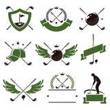 Etichette ed icone di golf messe Vettore Fotografie Stock