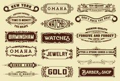 17 etichette ed insegne illustrazione di stock