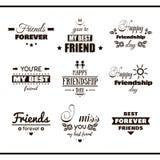 Etichette felici dell'insieme di giorno di amicizia Immagine Stock Libera da Diritti