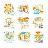 Etichette felici di giorno degli insegnanti, insieme dei modelli del grafico di logo illustrazione vettoriale