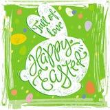 Etichette felici di progettazione della cartolina d'auguri di Pasqua con coniglio Fotografia Stock