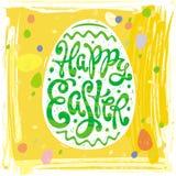 Etichette felici di progettazione della cartolina d'auguri di Pasqua con l'uovo Fotografia Stock