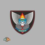 Etichette miste di arti marziali Casco di pugilato del cranio Logo del Muttahida Majlis-E-Amal illustrazione di stock