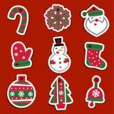 Etichette o autoadesivi di Natale di vettore per i regali Fotografia Stock
