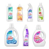 Etichette per le bottiglie chimiche Illustrazioni realistiche delle bottiglie di plastica per vari liquidi chimici royalty illustrazione gratis