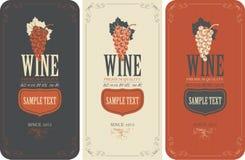 Etichette per vino con l'uva Immagini Stock