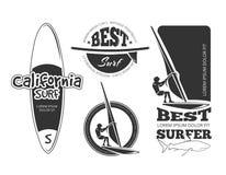 Etichette praticanti il surfing d'annata di vettore Fotografia Stock Libera da Diritti