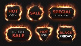Etichette realistiche del fuoco Insegne calde con effetto brillante della fiamma, oggetti isolati del testo di offerta di vendita illustrazione vettoriale