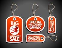 Etichette rosse di Halloween di vendita messe con la strega Immagini Stock
