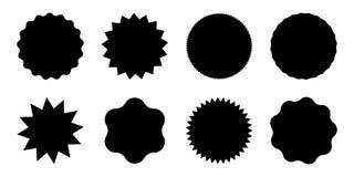 Etichette rotonde nere di vendita con le punte Icone semplici del sole messe illustrazione di stock