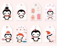 Etichette sveglie del regalo di vettore con i pinguini del fumetto Immagine Stock