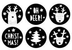 Etichette sveglie di vettore di Natale di forma rotonda Progettazione infantile semplice in bianco e nero illustrazione di stock