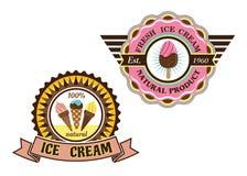 Etichette variopinte del gelato Fotografia Stock Libera da Diritti