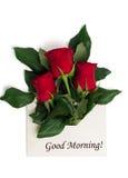 Etichetti il buongiorno con il mazzo delle rose rosse in busta Fotografia Stock Libera da Diritti